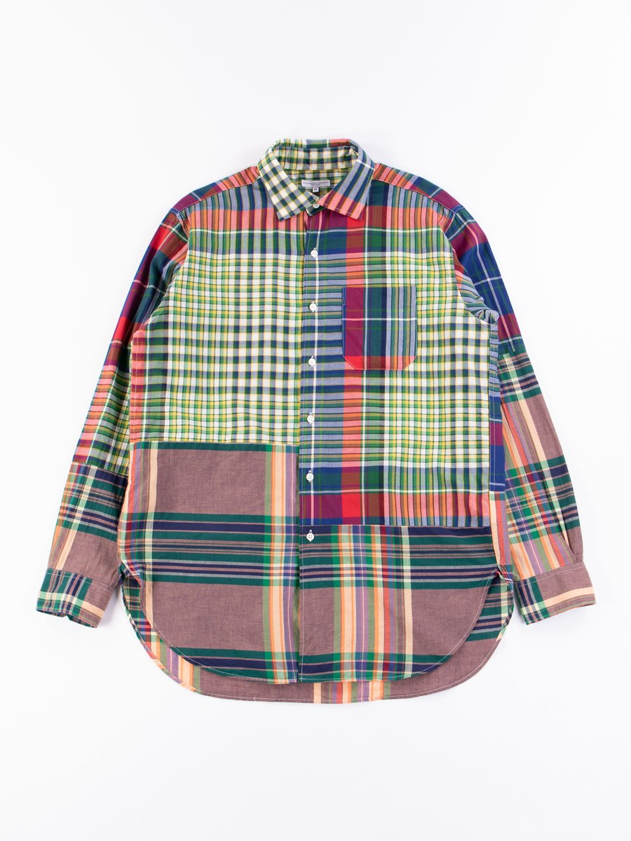 Red/Blue/Green Big Madras Plaid Spread Collar Shirt