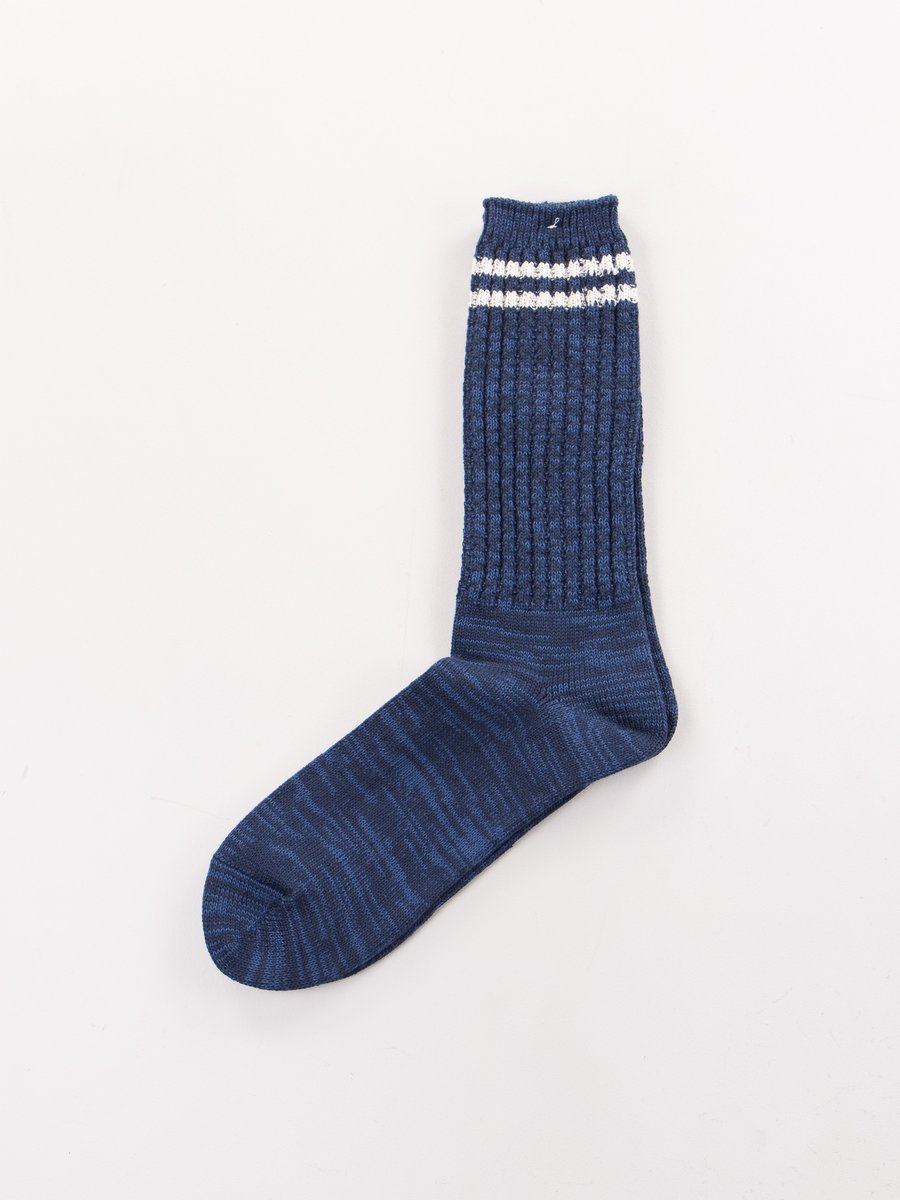 Navy 2 Stripe Crew Socks