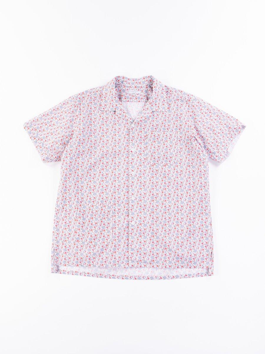 White/Blue/Orange Small Floral Camp Shirt