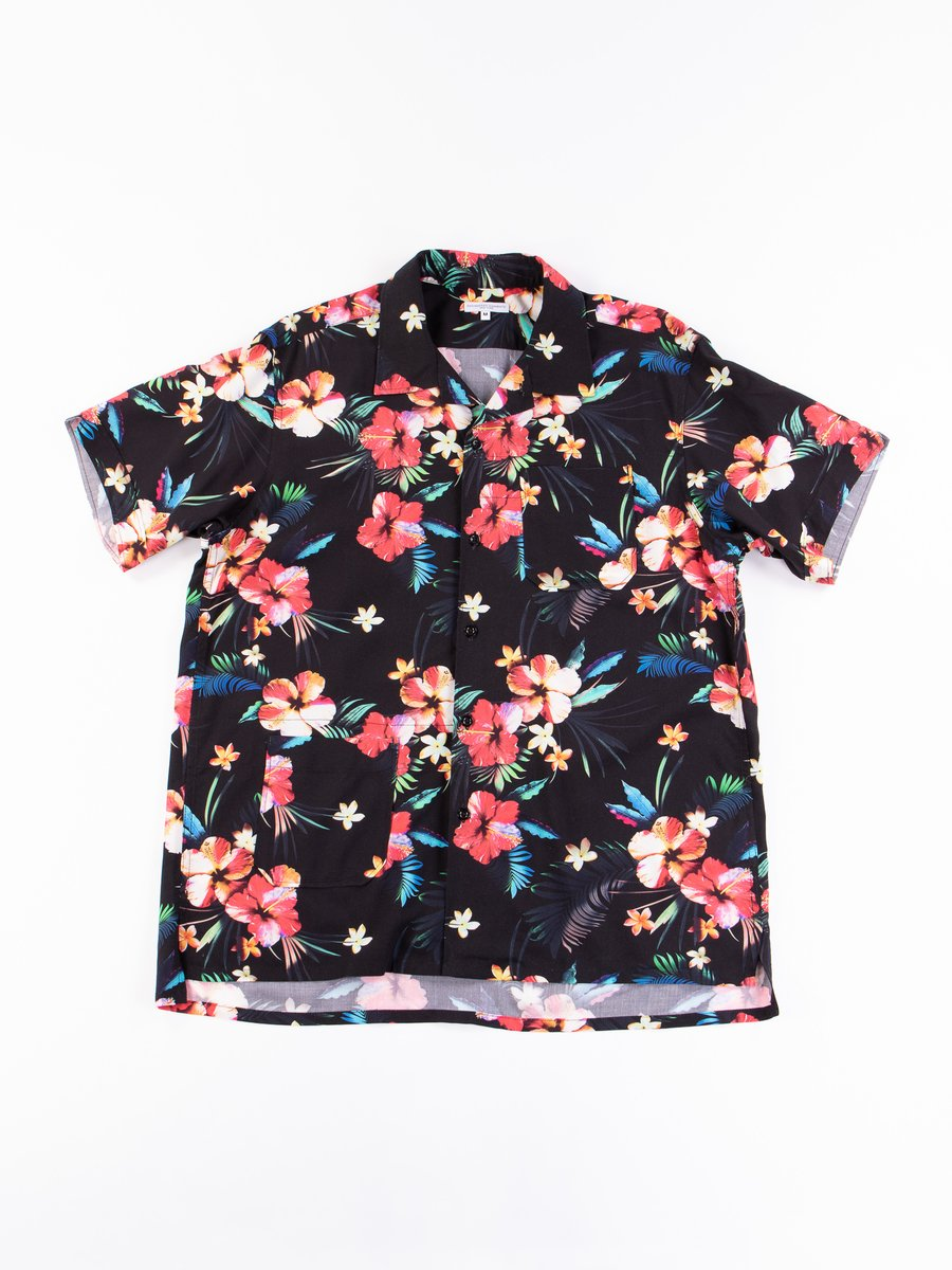 Black Tropical Floral Print Rayon Camp Shirt