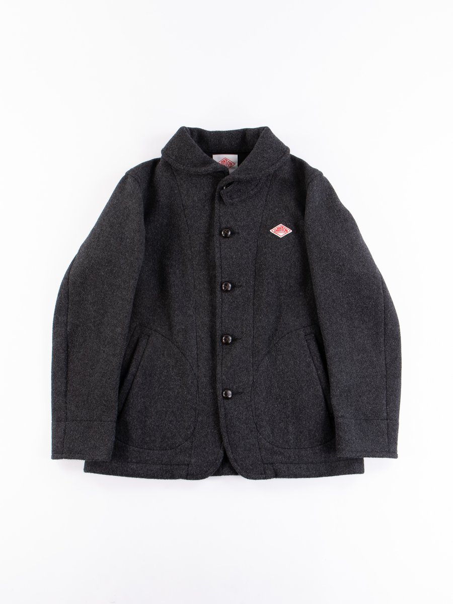 Charcoal Mossa Wool Round Collar Jacket
