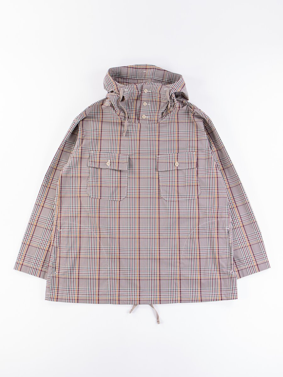 Light Grey Polyester Rayon Glen Plaid Cagoule Shirt