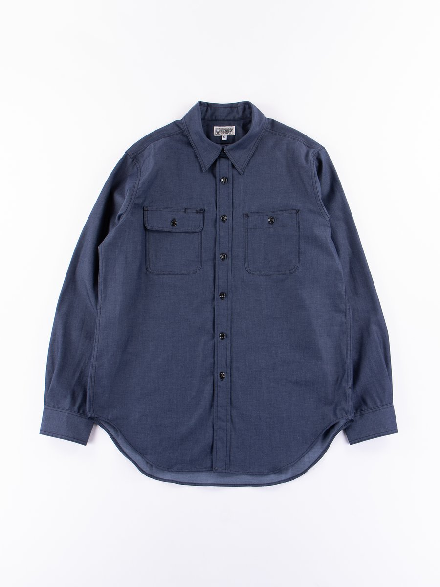 Indigo Cotton Denim Utility Shirt
