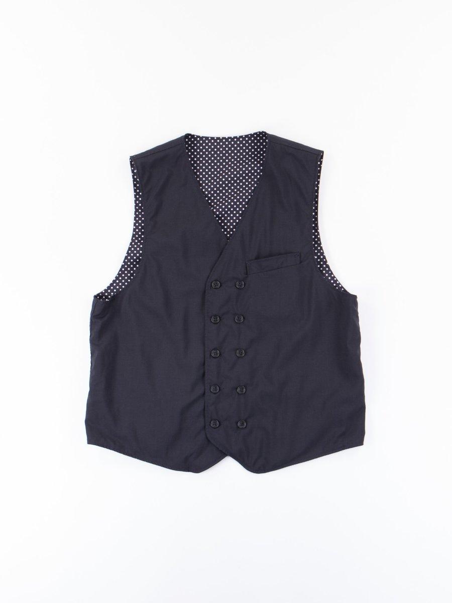Dark Navy Tropical Wool Cordura Reversible Vest