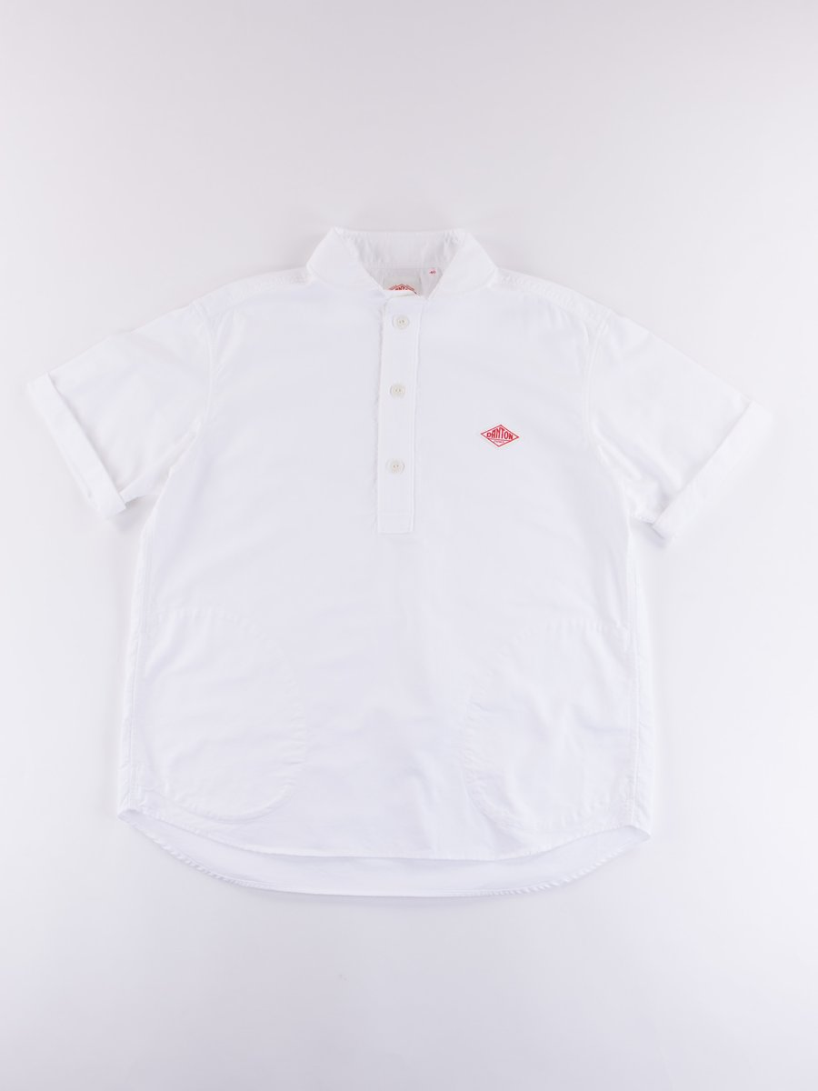 White Oxford Shawl Collar Short Sleeve Shirt