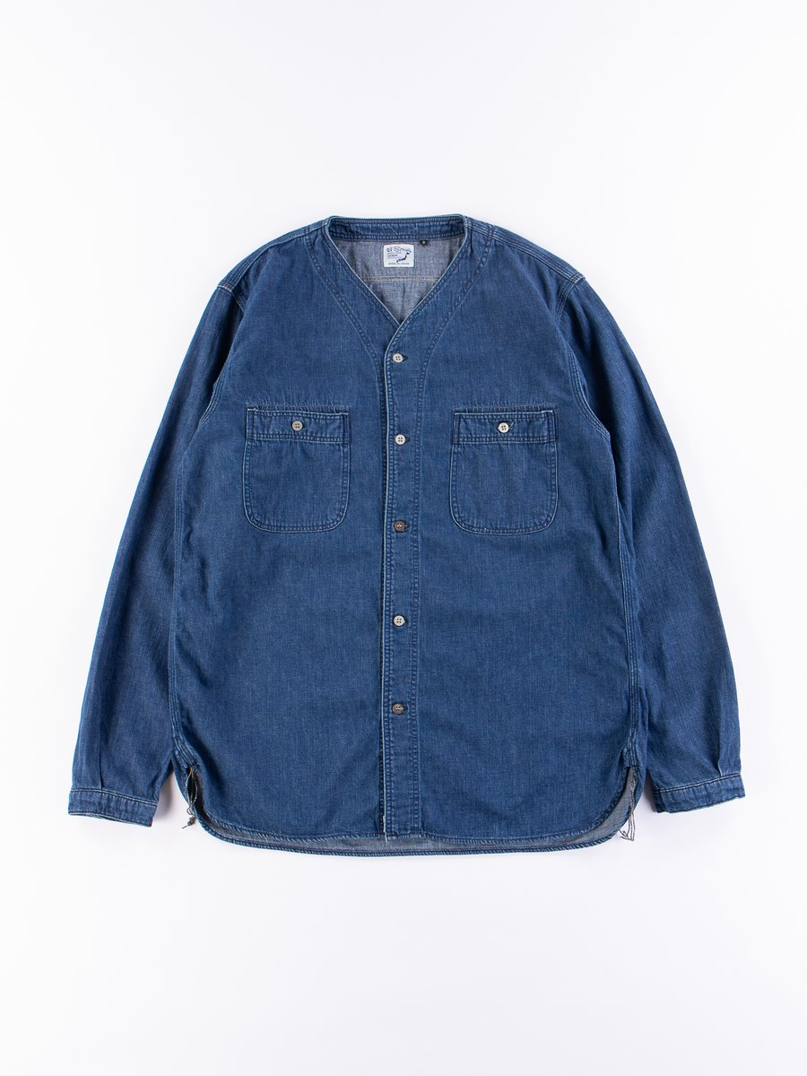 Used Denim No Collar Shirt