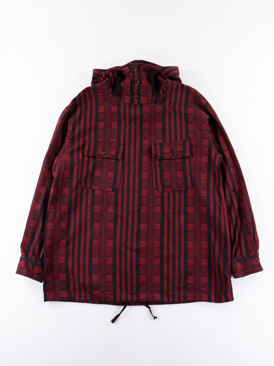 Red/Black Ethnic Stripe Jacquard Cagoule Shirt