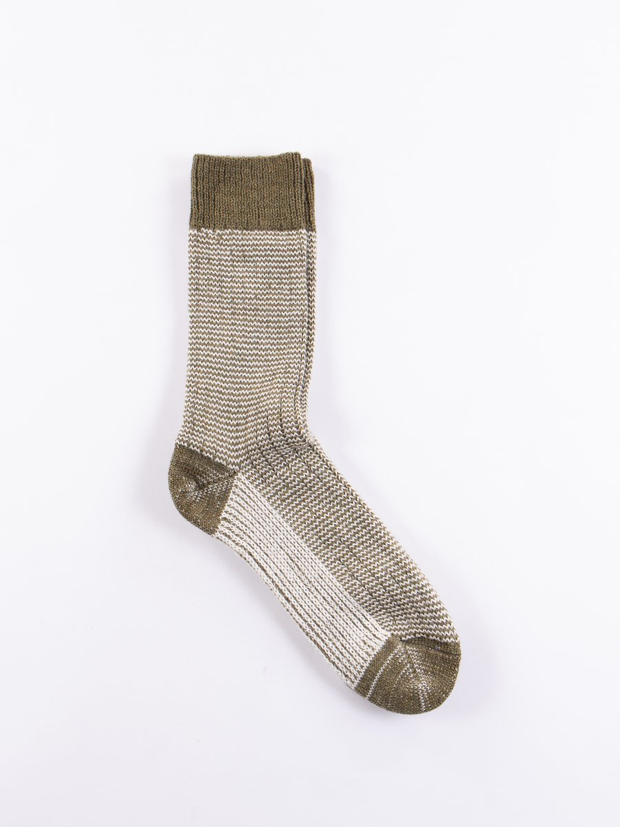 Army/Natural S78 Wool Striped Sock