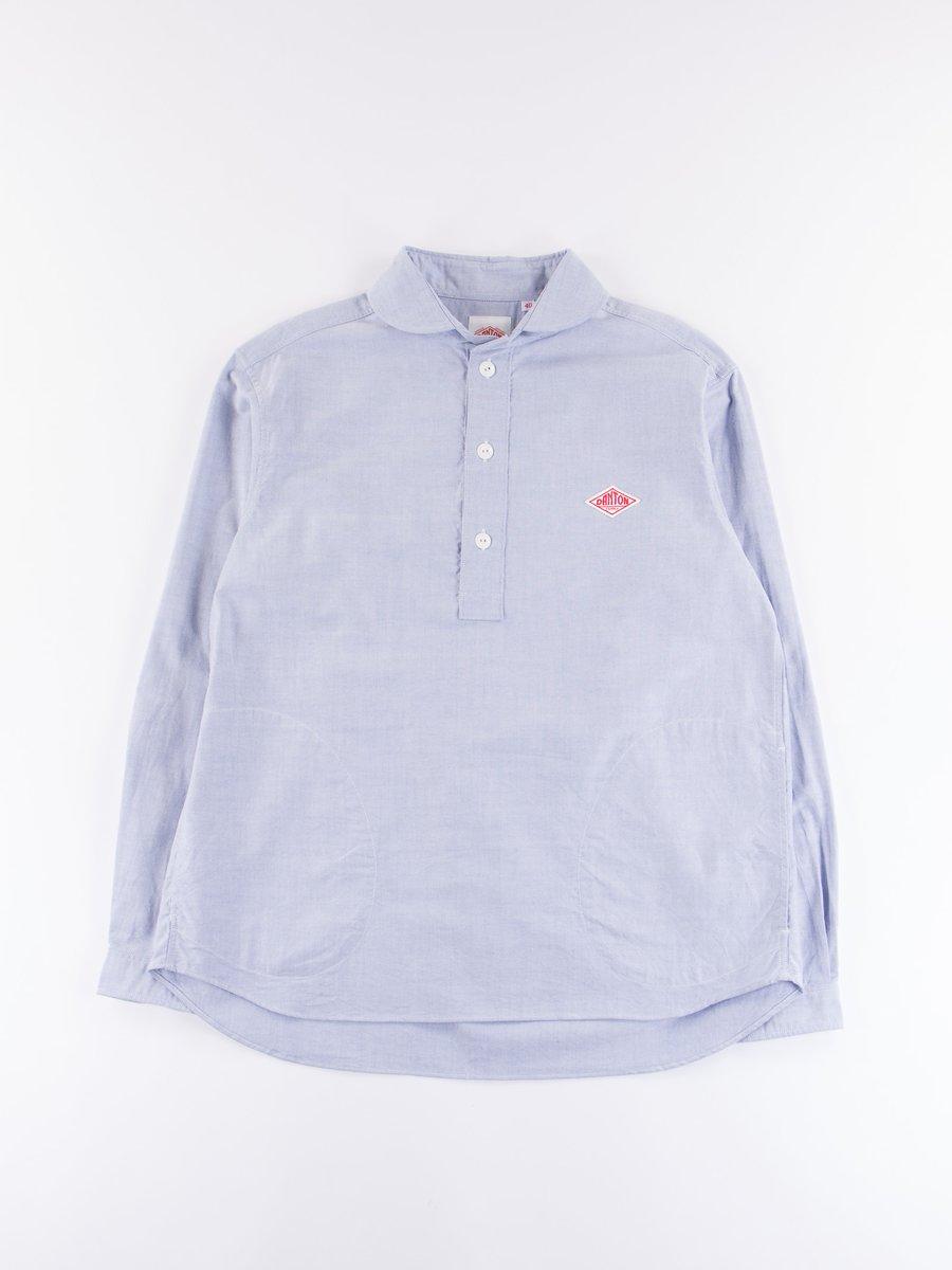 Blue Oxford Shawl Collar Pullover Shirt