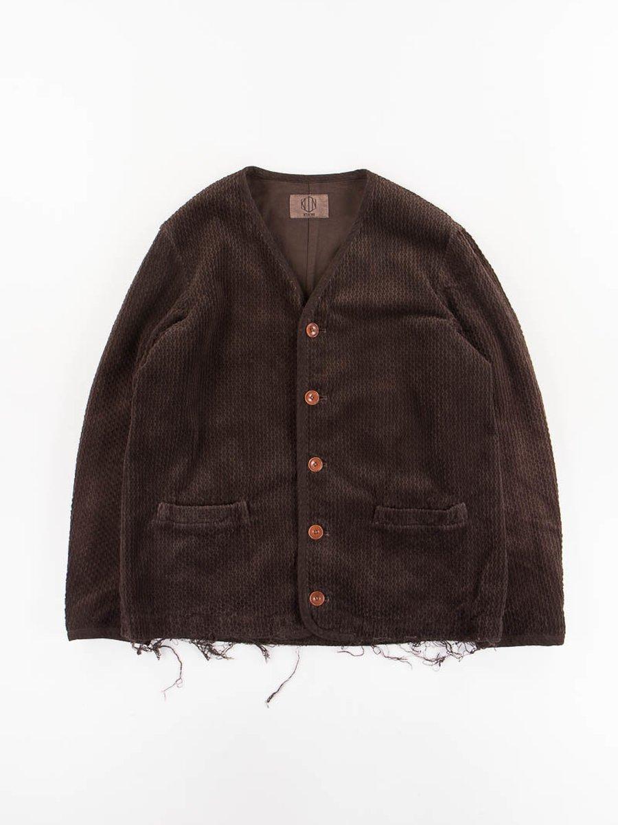 Brown No Collar Jacket