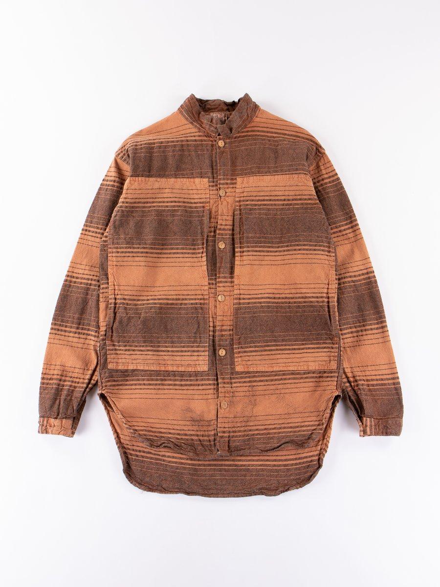 Red Ochre Dye Indigo Doppler Stripe Calico Periscope Pocket Tail Shirt