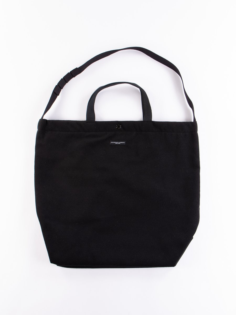 Black Polyester Fake Melton Carry All Tote