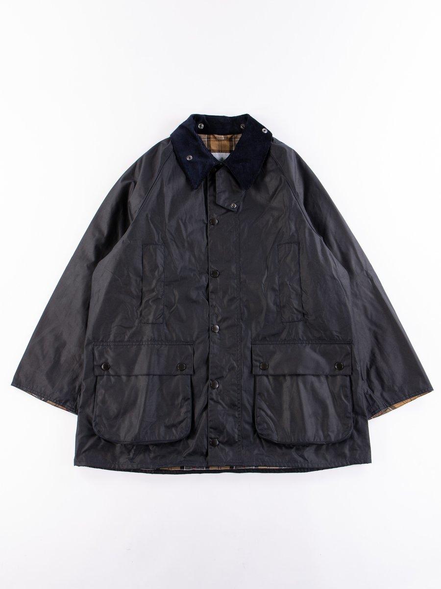Navy Oversized Beaufort Waxed Cotton Jacket