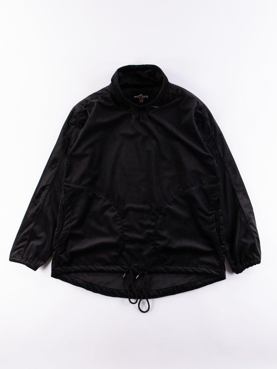 Black Silky Velvet Mock Neck Pullover