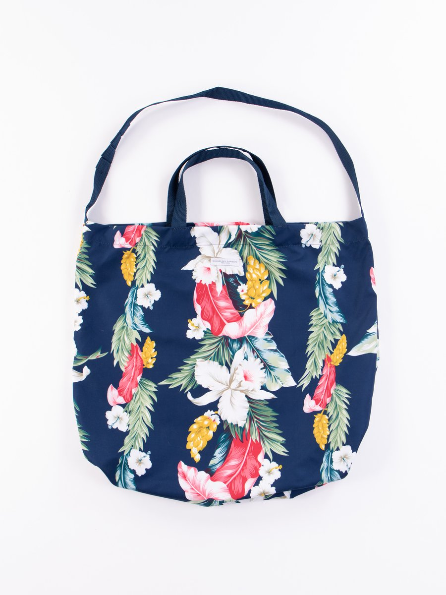 Navy Hawaiian Floral Microfiber Carry All Tote