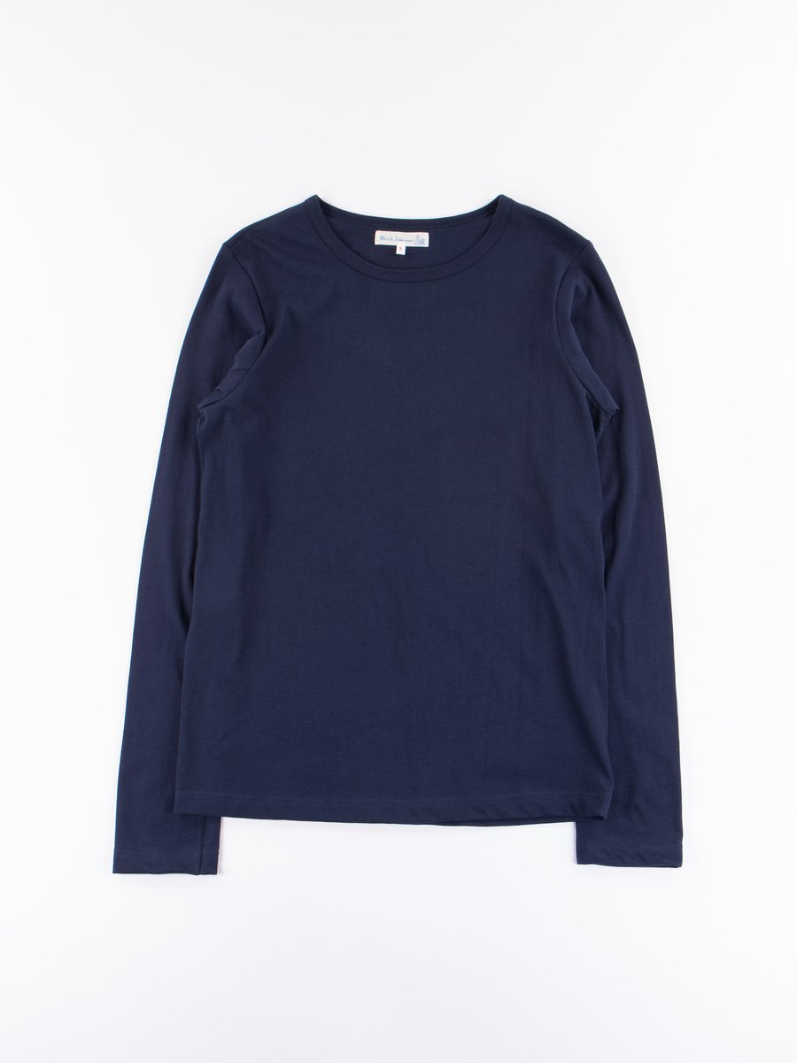 Ink Blue 1950s Organic Crew Neck Long Sleeve Tee
