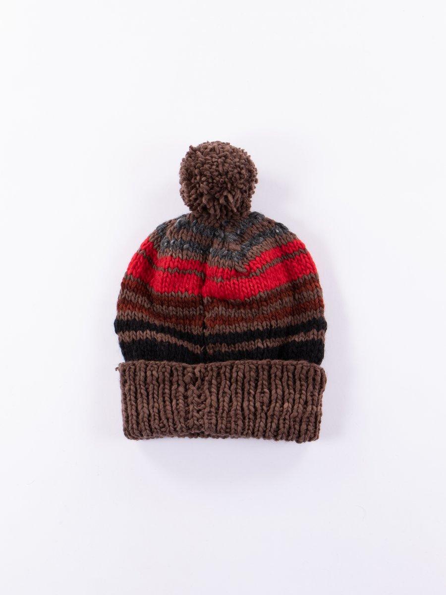Brown Multi Double Cuff Stripe Cap