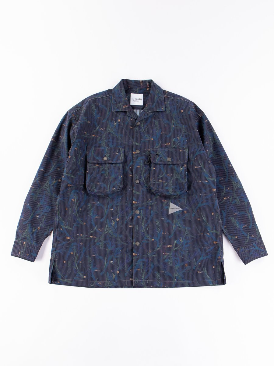 Navy Printed Dry Seersucker Shirt