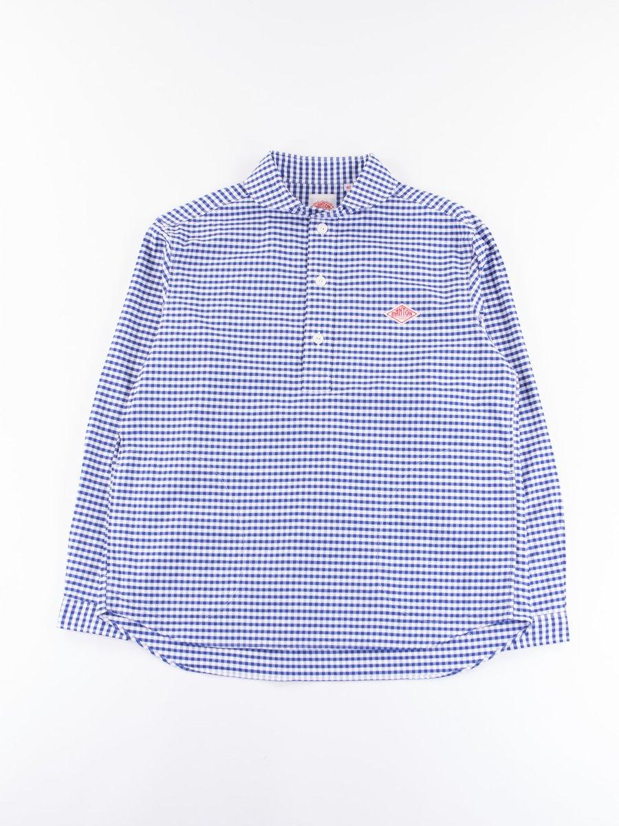 Blue Gingham Oxford Shawl Collar Pullover Shirt
