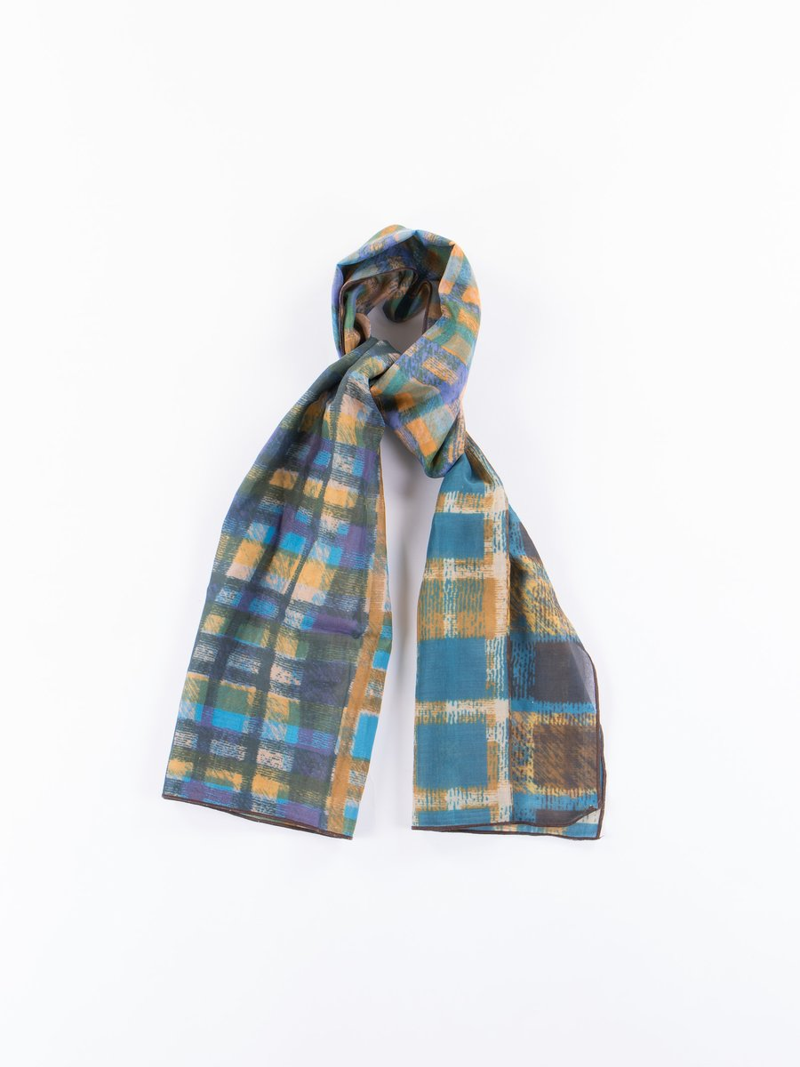 Blue Check Madras Scarf