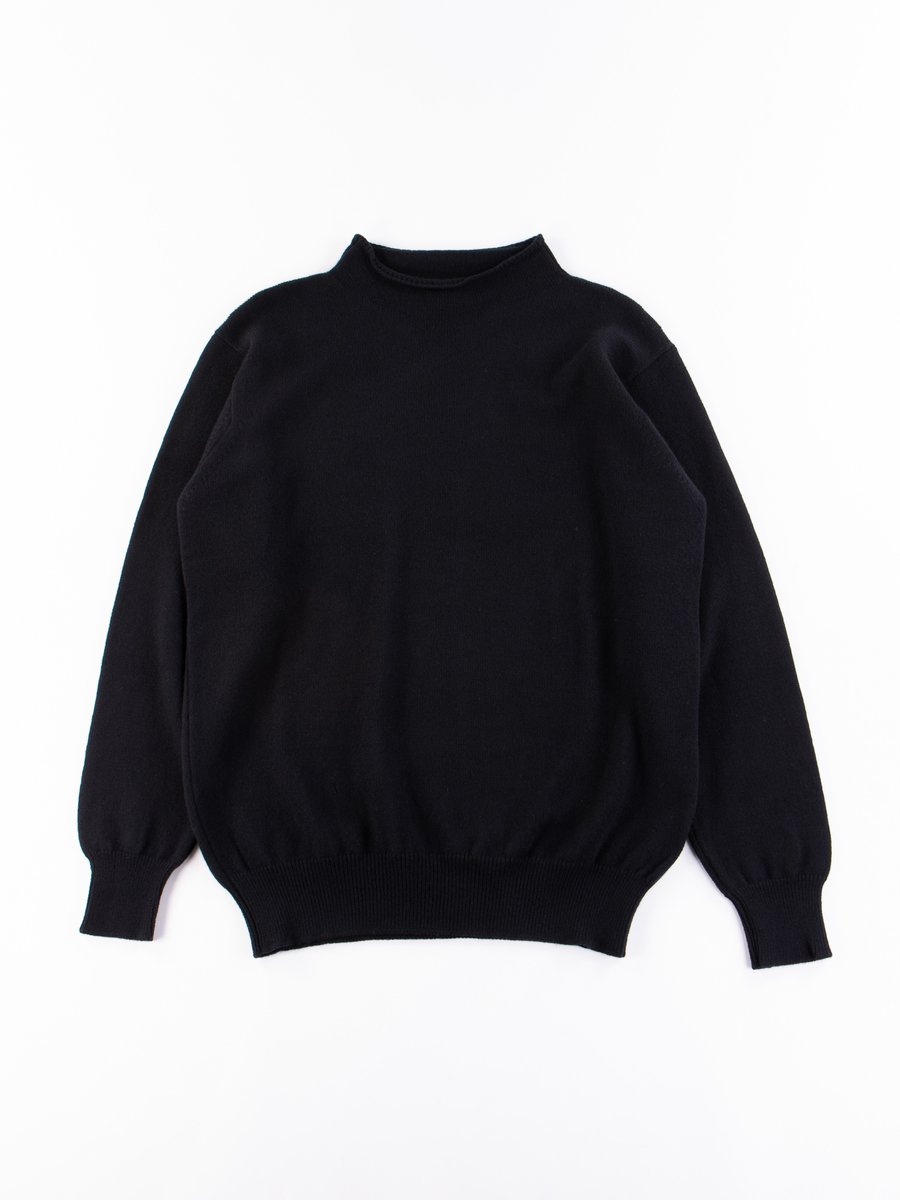 Black Merino Wool High Neck Sweater
