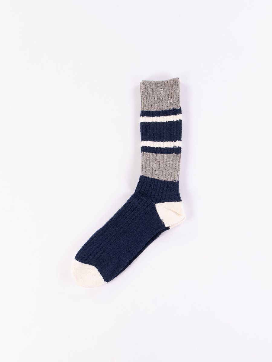Navy/Grey Stripe Block Crew Socks