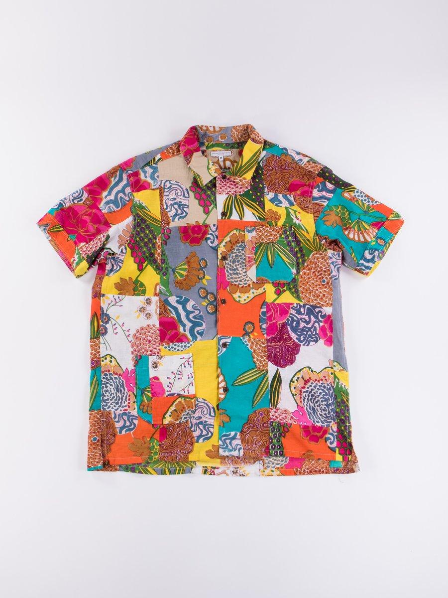 Multi Color Cotton Floral Patchwork Camp Shirt