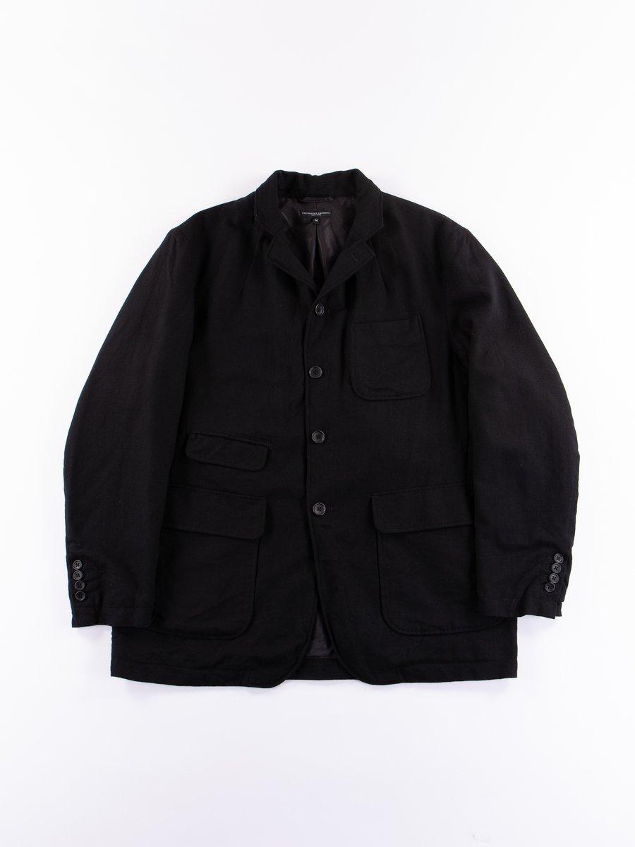 Black Worsted Wool Flannel Landsdown Jacket