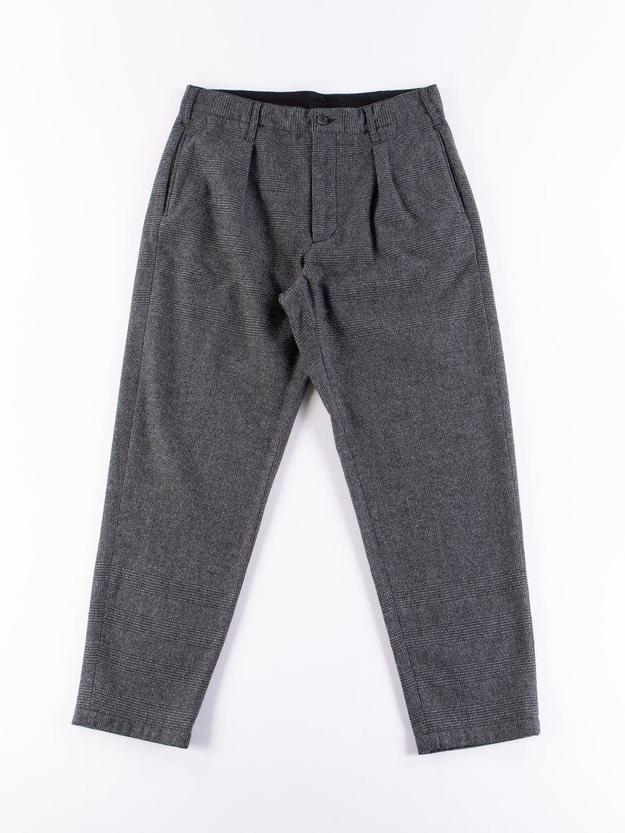 Grey Wool Glen Plaid Stripe Carlyle Pant