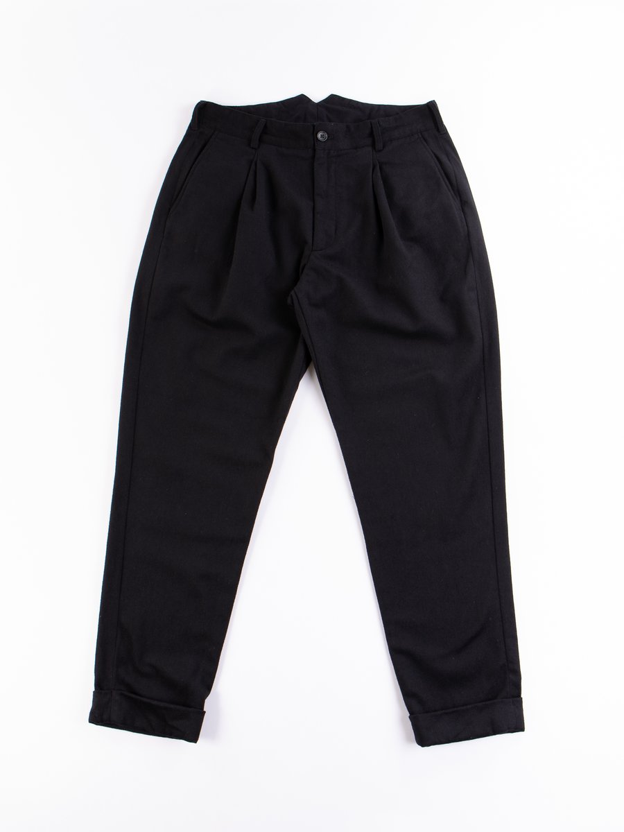 Black Wool Cotton Flannel WP Pant