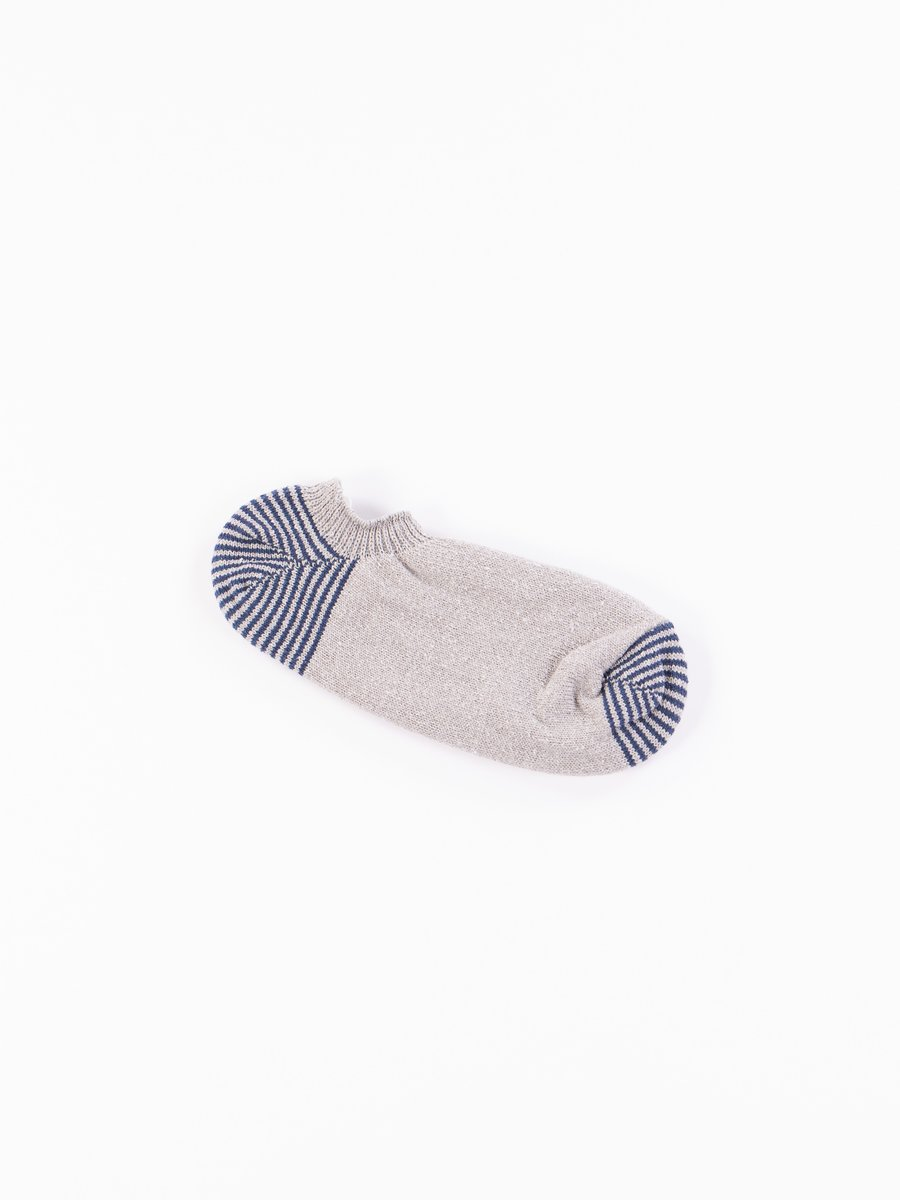 Grey Silk/Cotton Invisible Sock