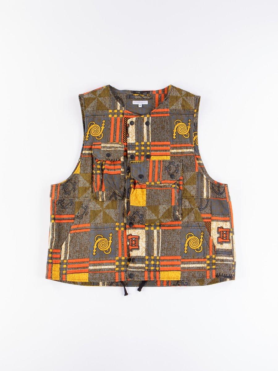 Black/Gold Cotton African Print Cover Vest