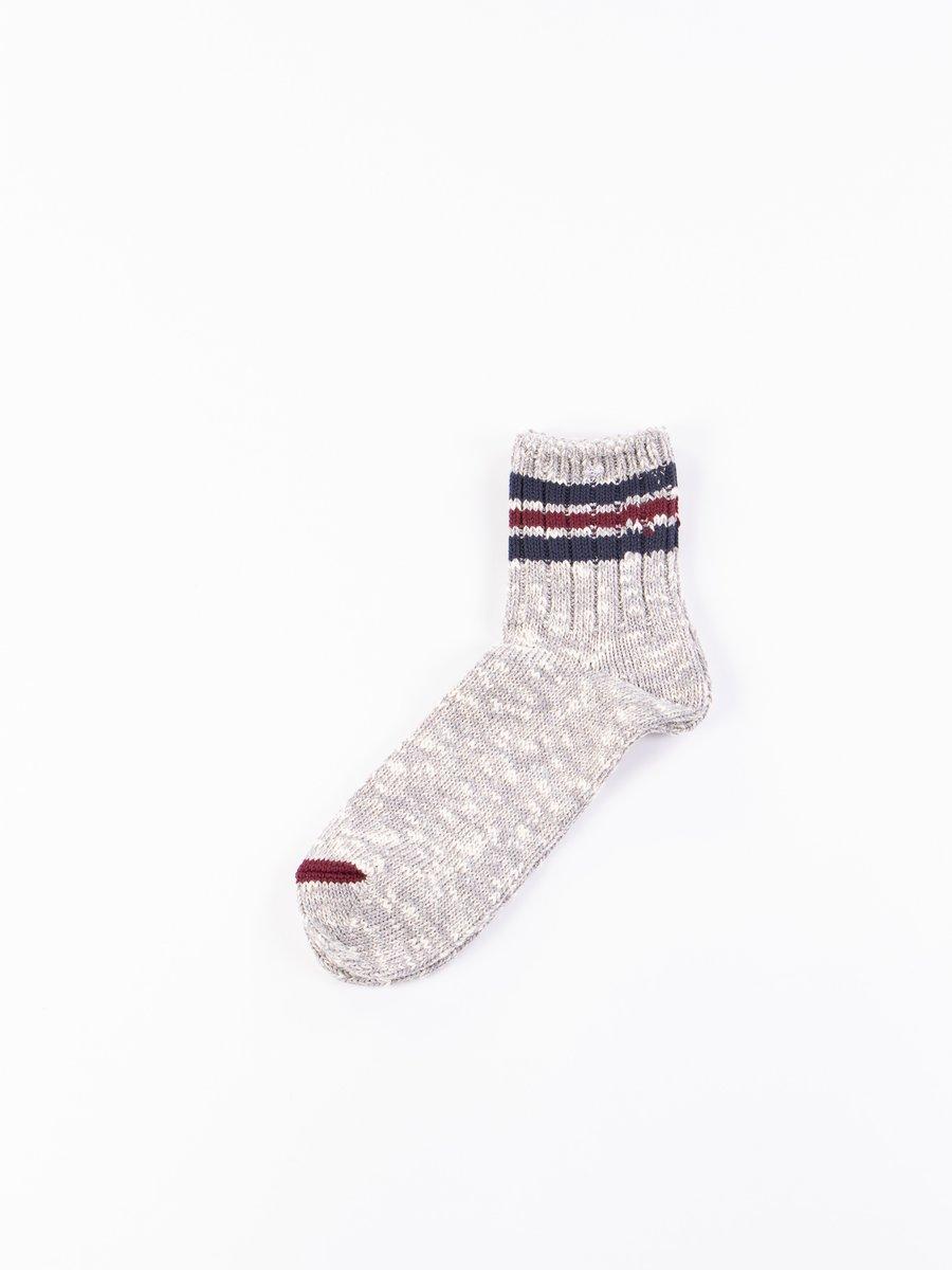 Grey 3 Line Slub Quarter Socks