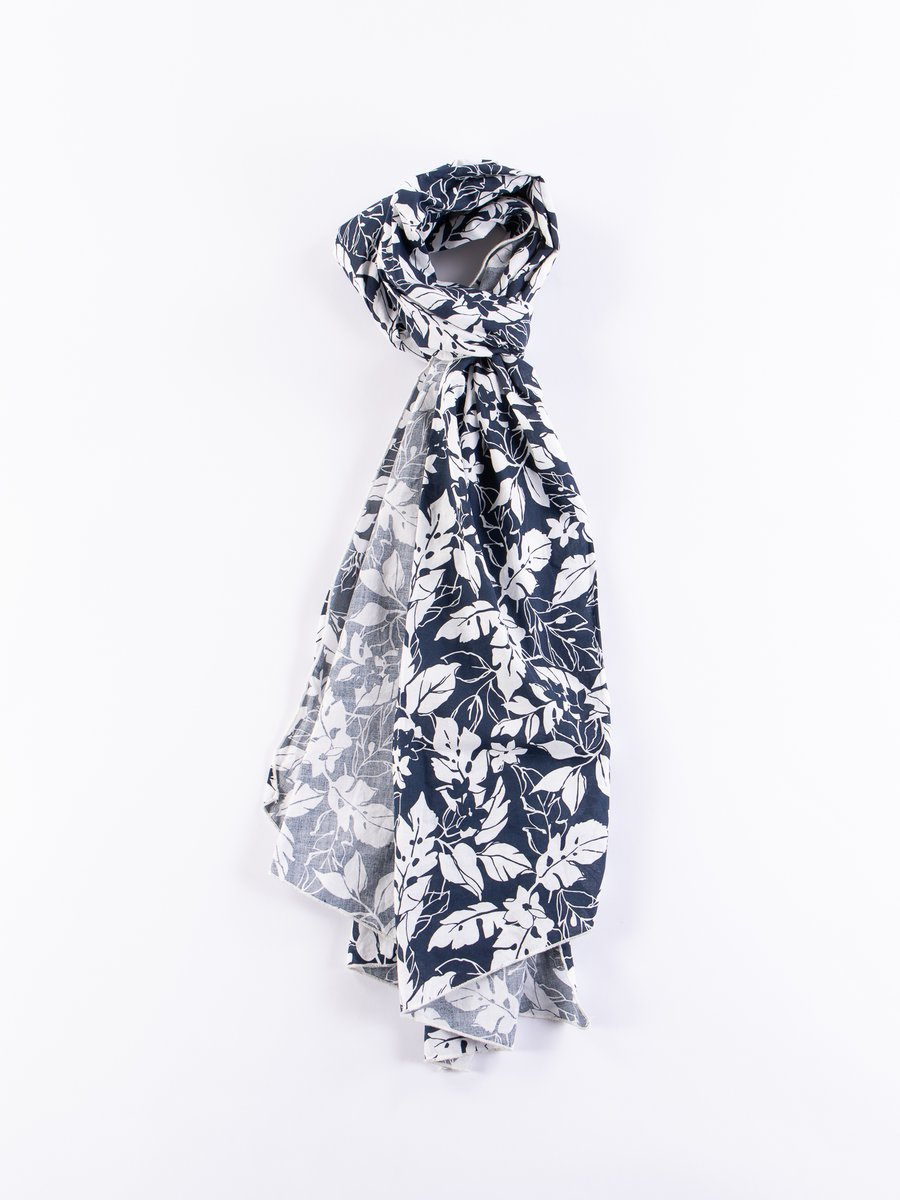 Navy/White Floral Printed Lawn Long Scarf