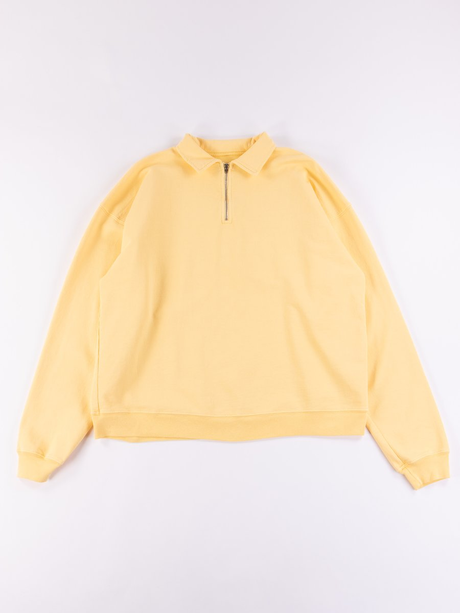 Light Yellow Cropped Half Zip Sweat