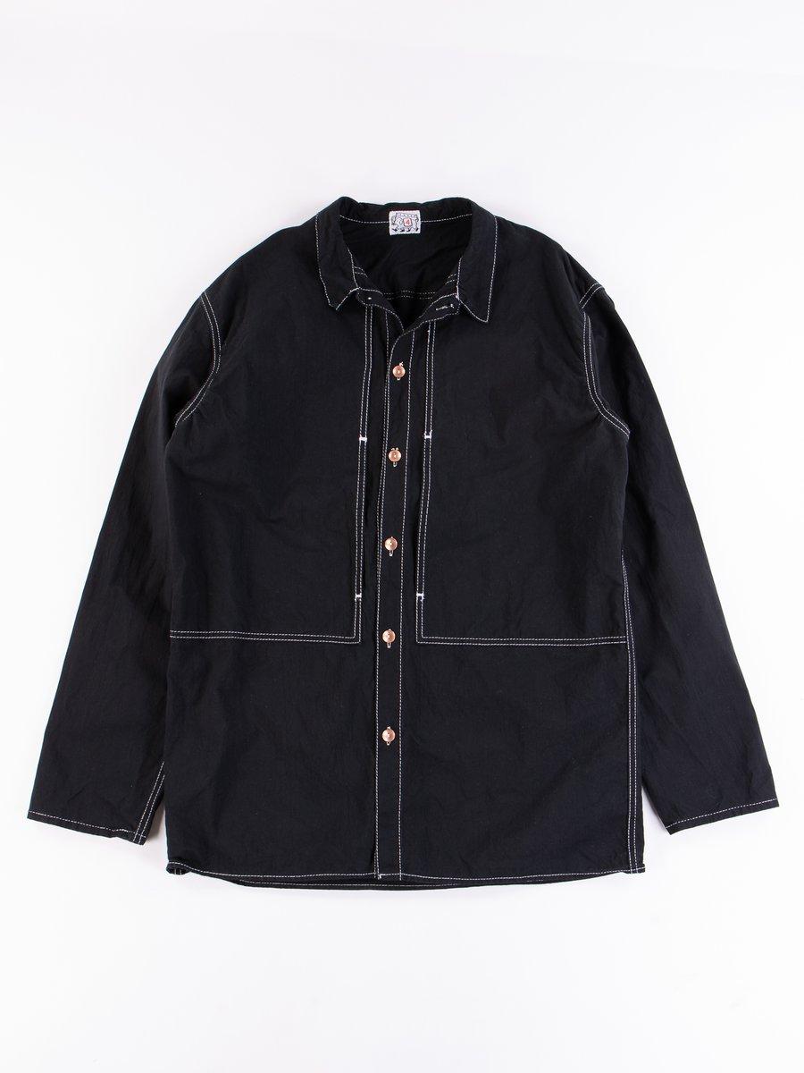 Black Cotton Panama Yoke Pocket Shirt
