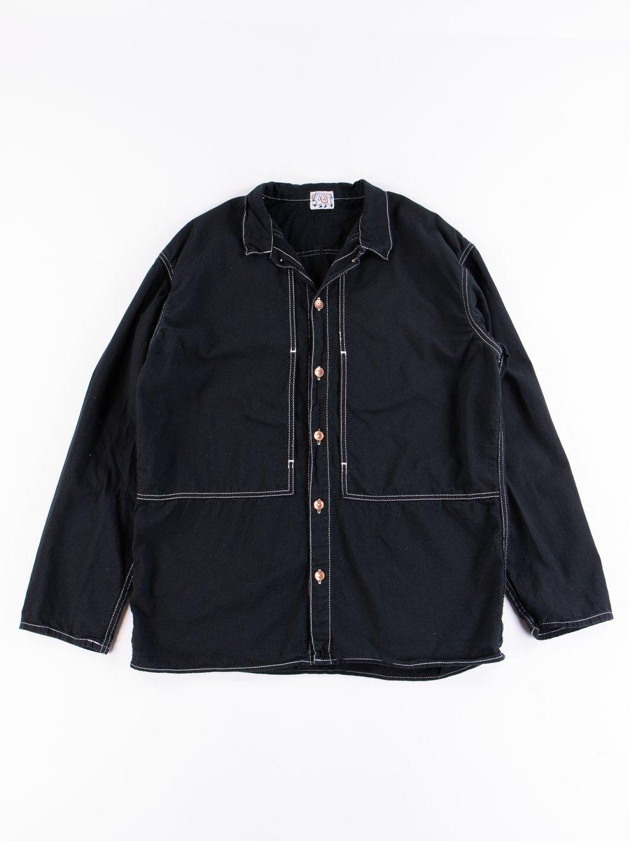 Black Cotton Cigar Pocket Half Flannel Yoke Pocket Shirt