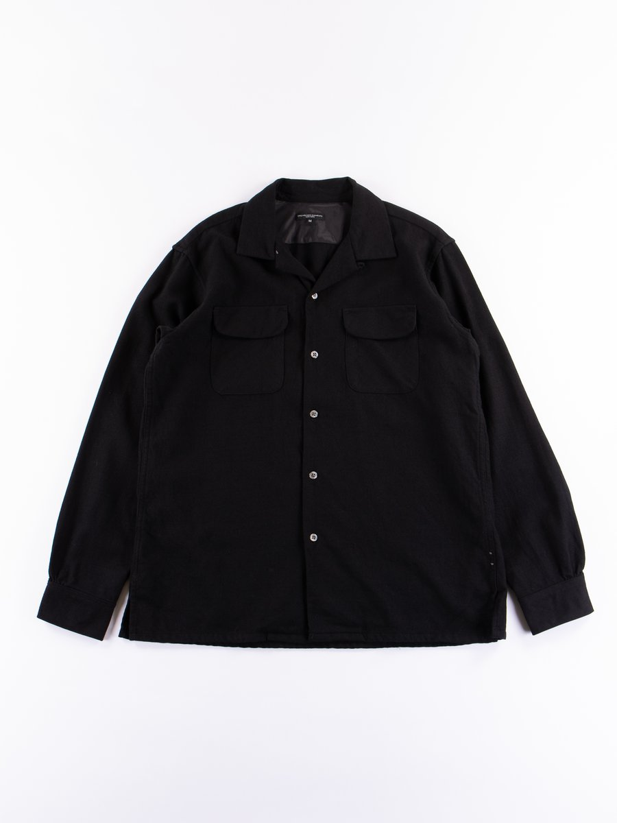 Black Worsted Wool Flannel Classic Shirt