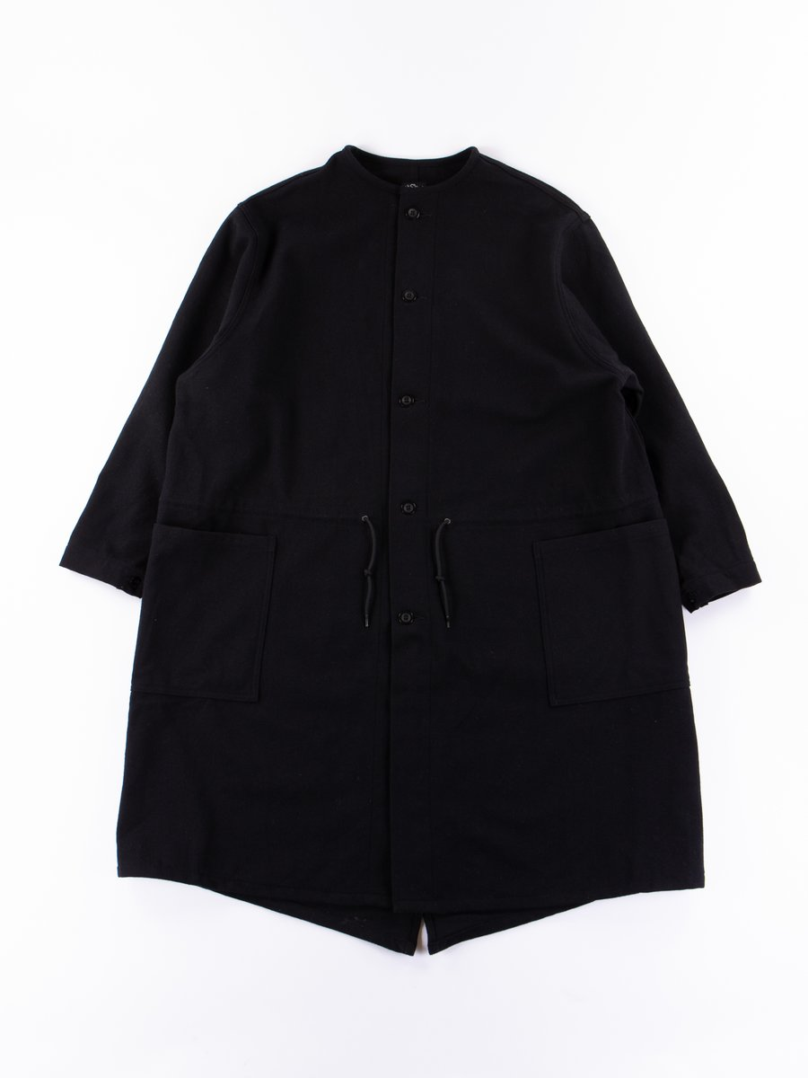 Black Melton Wool Herringbone Twill No Collar Coat