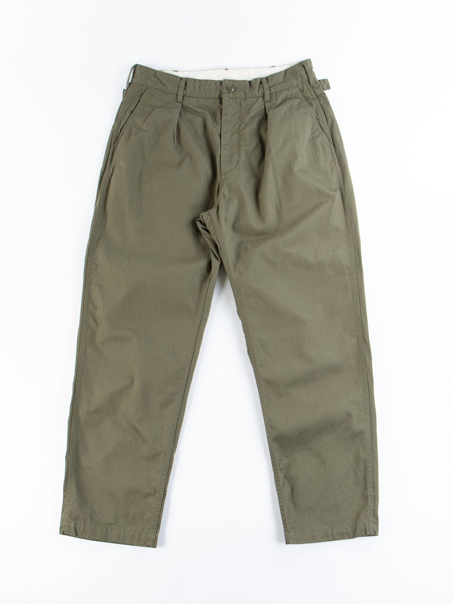 Olive Cotton Herringbone Twill Ground Pant