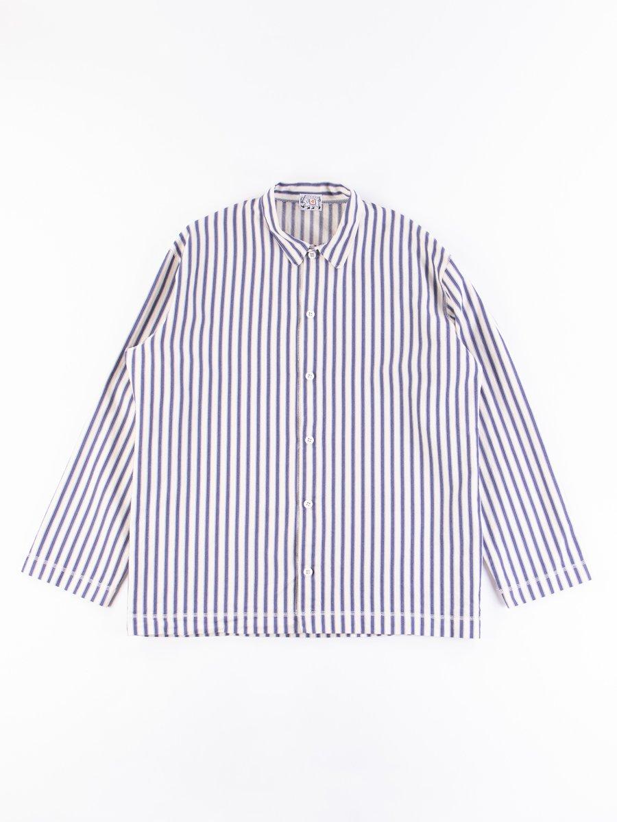 Navy Armchair Stripe Weavers Stock LS Square Shirt