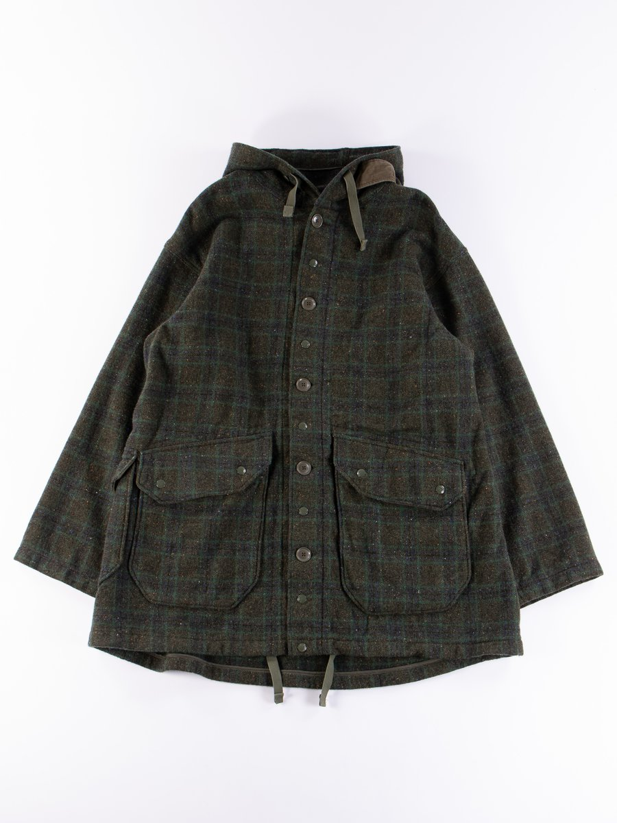 Green Check Donegal Wool Tweed Madison Parka
