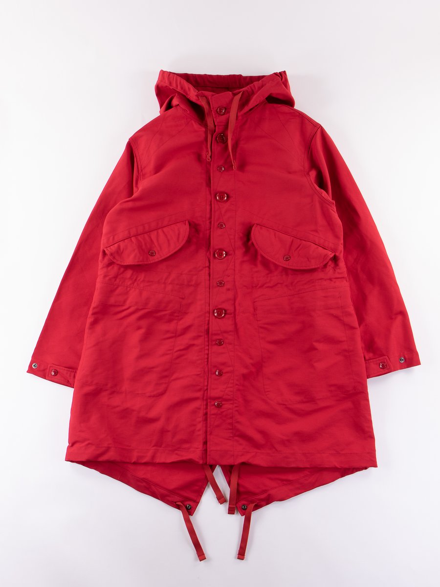 Red Cotton Double Cloth Highland Parka