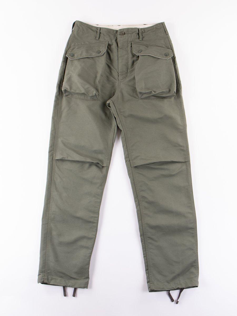 Olive Cotton Double Cloth Norwegian Pant