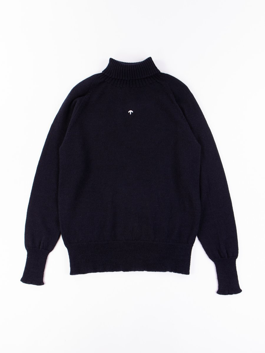 Black Navy Seamless Roll Neck