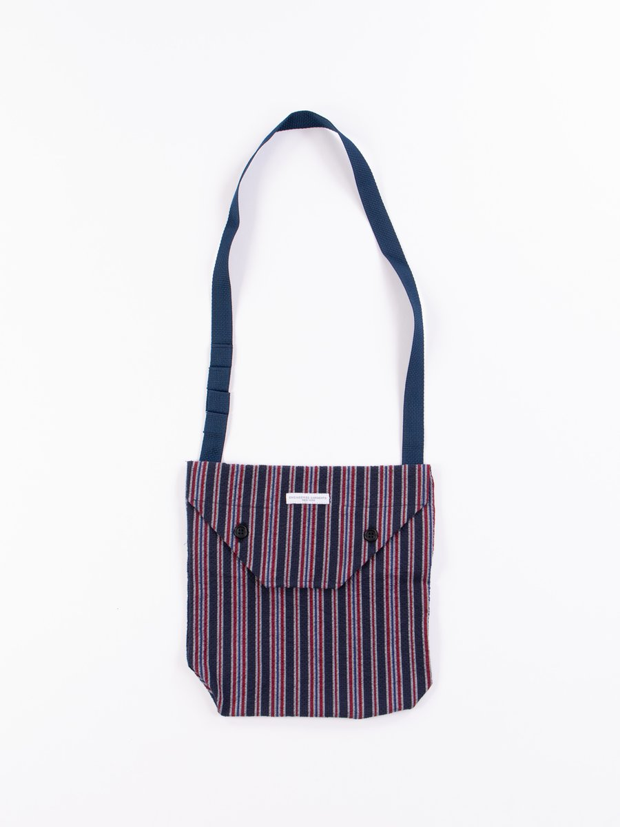 Navy/Red Seersucker Alternate Stripe Shoulder Pouch