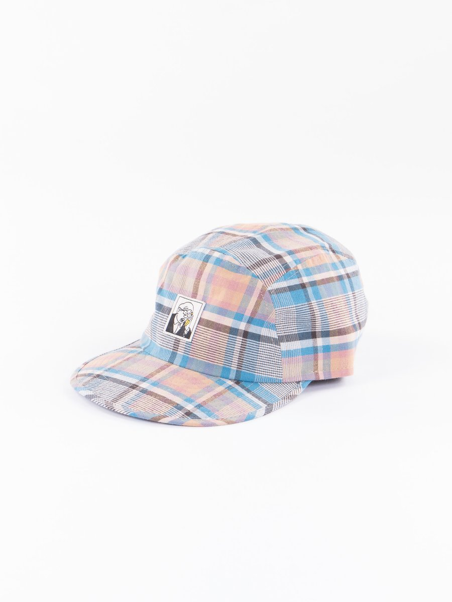 Blue/Orange Check Broadcloth Pentaque Cap