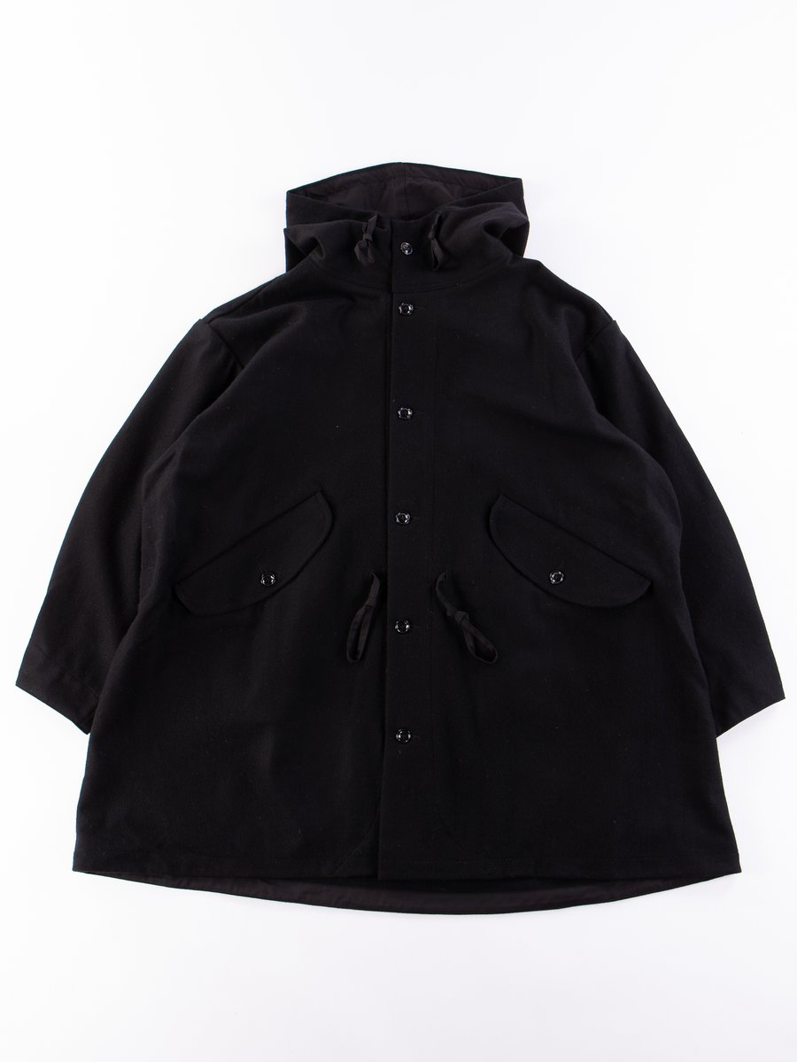 Black Wool Flannel Czech Coat