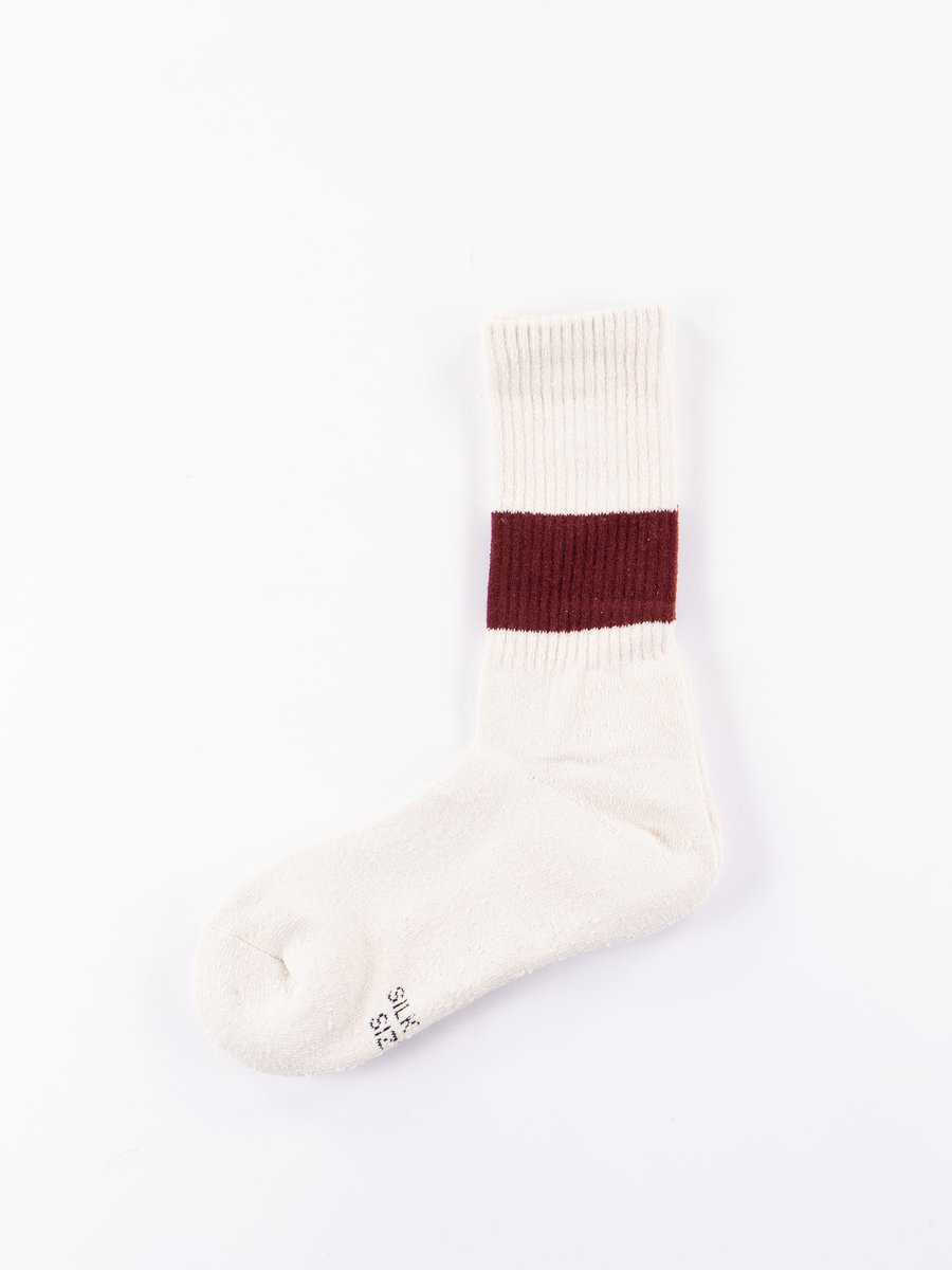 Ivory/Burgundy Classic Crew Stripe Socks