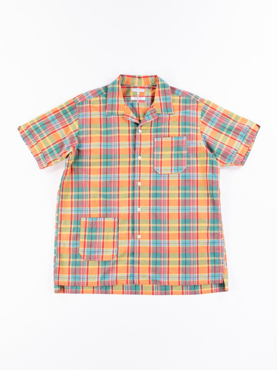 Orange Plaid Cotton Broadcloth Camp Shirt